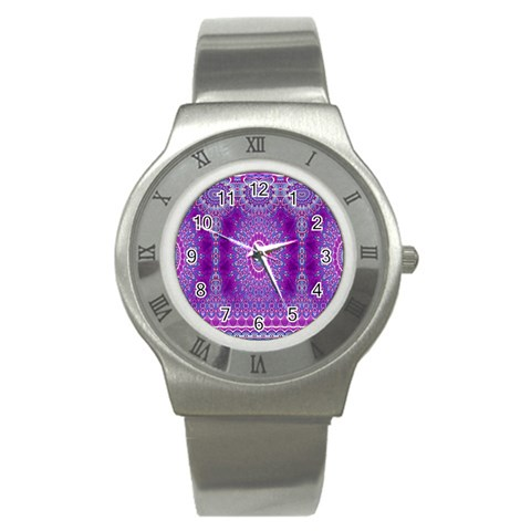 India Ornaments Mandala Pillar Blue Violet Stainless Steel Watch