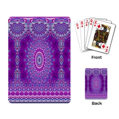 India Ornaments Mandala Pillar Blue Violet Playing Card
