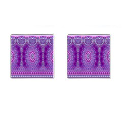 India Ornaments Mandala Pillar Blue Violet Cufflinks (square)