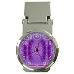 India Ornaments Mandala Pillar Blue Violet Money Clip Watches Front