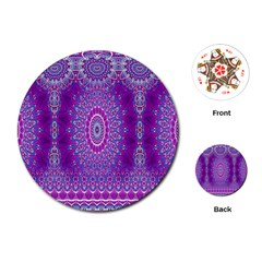 India Ornaments Mandala Pillar Blue Violet Playing Cards (Round)