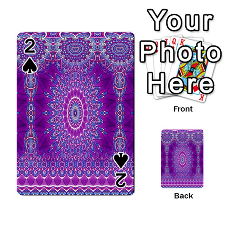 India Ornaments Mandala Pillar Blue Violet Playing Cards 54 Designs