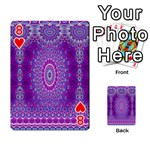 India Ornaments Mandala Pillar Blue Violet Playing Cards 54 Designs  Front - Heart8