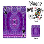 India Ornaments Mandala Pillar Blue Violet Playing Cards 54 Designs  Front - Spade5