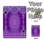 India Ornaments Mandala Pillar Blue Violet Playing Cards 54 Designs  Front - Club9