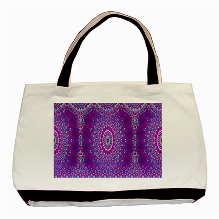 India Ornaments Mandala Pillar Blue Violet Basic Tote Bag