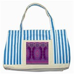 India Ornaments Mandala Pillar Blue Violet Striped Blue Tote Bag Front