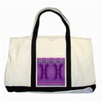 India Ornaments Mandala Pillar Blue Violet Two Tone Tote Bag Front