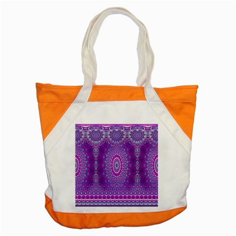 India Ornaments Mandala Pillar Blue Violet Accent Tote Bag