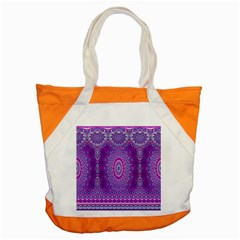 India Ornaments Mandala Pillar Blue Violet Accent Tote Bag