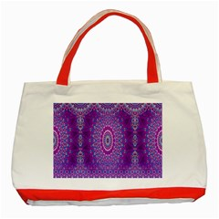 India Ornaments Mandala Pillar Blue Violet Classic Tote Bag (red)