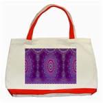 India Ornaments Mandala Pillar Blue Violet Classic Tote Bag (Red) Front
