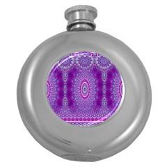 India Ornaments Mandala Pillar Blue Violet Round Hip Flask (5 Oz)