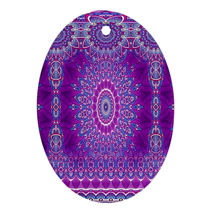 India Ornaments Mandala Pillar Blue Violet Oval Ornament (Two Sides)