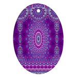 India Ornaments Mandala Pillar Blue Violet Oval Ornament (Two Sides) Back