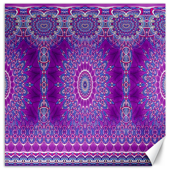 India Ornaments Mandala Pillar Blue Violet Canvas 12  x 12