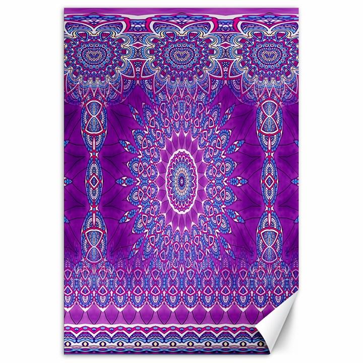 India Ornaments Mandala Pillar Blue Violet Canvas 20  x 30