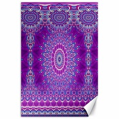India Ornaments Mandala Pillar Blue Violet Canvas 24  X 36