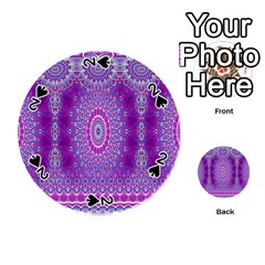 India Ornaments Mandala Pillar Blue Violet Playing Cards 54 (Round)