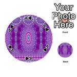 India Ornaments Mandala Pillar Blue Violet Playing Cards 54 (Round)  Front - SpadeA