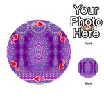 India Ornaments Mandala Pillar Blue Violet Playing Cards 54 (Round)  Front - Heart7