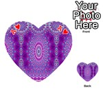 India Ornaments Mandala Pillar Blue Violet Playing Cards 54 (Heart)  Front - HeartA