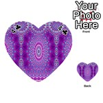 India Ornaments Mandala Pillar Blue Violet Playing Cards 54 (Heart)  Front - Club4