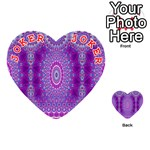 India Ornaments Mandala Pillar Blue Violet Playing Cards 54 (Heart)  Front - Joker2