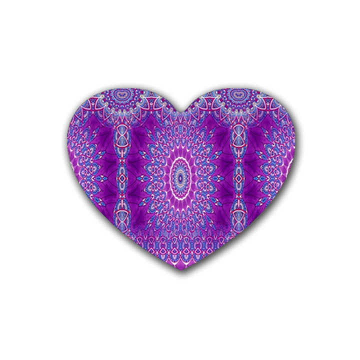India Ornaments Mandala Pillar Blue Violet Rubber Coaster (Heart)