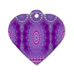 India Ornaments Mandala Pillar Blue Violet Dog Tag Heart (One Side) Front