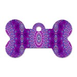 India Ornaments Mandala Pillar Blue Violet Dog Tag Bone (Two Sides) Back