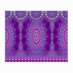India Ornaments Mandala Pillar Blue Violet Small Glasses Cloth (2-Side) Front