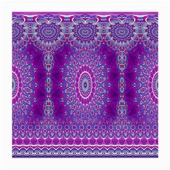 India Ornaments Mandala Pillar Blue Violet Medium Glasses Cloth