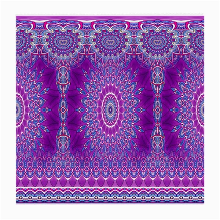 India Ornaments Mandala Pillar Blue Violet Medium Glasses Cloth (2-Side)