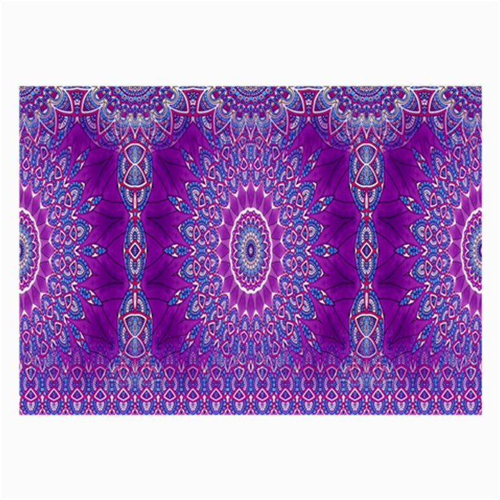 India Ornaments Mandala Pillar Blue Violet Large Glasses Cloth