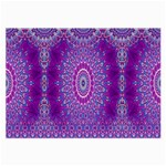 India Ornaments Mandala Pillar Blue Violet Large Glasses Cloth (2-Side) Front