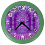 India Ornaments Mandala Pillar Blue Violet Color Wall Clocks Front