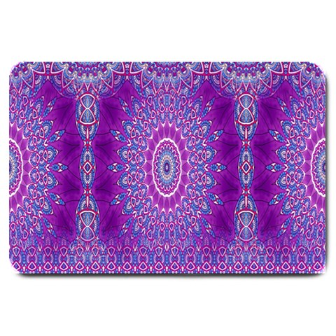 India Ornaments Mandala Pillar Blue Violet Large Doormat