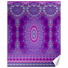 India Ornaments Mandala Pillar Blue Violet Canvas 11  x 14