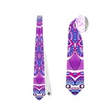 India Ornaments Mandala Pillar Blue Violet Neckties (One Side)  Front