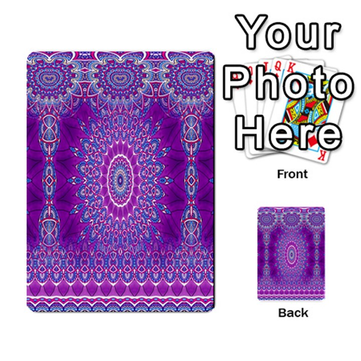 India Ornaments Mandala Pillar Blue Violet Multi-purpose Cards (Rectangle)