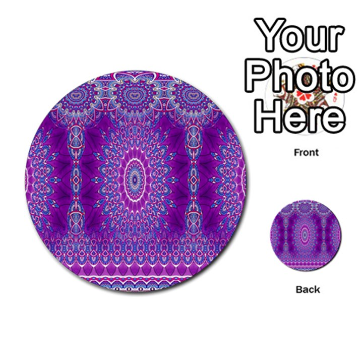 India Ornaments Mandala Pillar Blue Violet Multi-purpose Cards (Round)