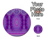 India Ornaments Mandala Pillar Blue Violet Multi-purpose Cards (Round)  Back 17