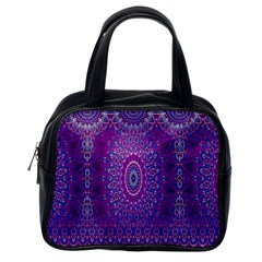 India Ornaments Mandala Pillar Blue Violet Classic Handbags (one Side)