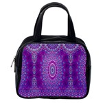 India Ornaments Mandala Pillar Blue Violet Classic Handbags (One Side) Front