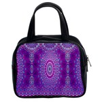 India Ornaments Mandala Pillar Blue Violet Classic Handbags (2 Sides) Front