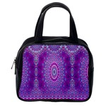 India Ornaments Mandala Pillar Blue Violet Classic Handbags (2 Sides) Back