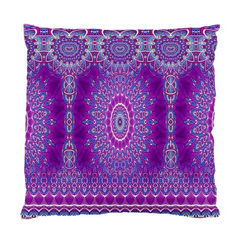 India Ornaments Mandala Pillar Blue Violet Standard Cushion Case (One Side)