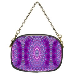 India Ornaments Mandala Pillar Blue Violet Chain Purses (Two Sides)