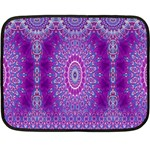 India Ornaments Mandala Pillar Blue Violet Fleece Blanket (Mini) 35 x27 Blanket